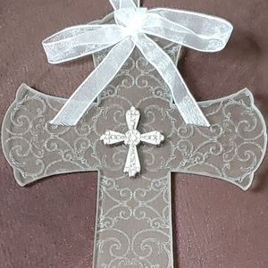 Etched scrolls on glass cross wall decoration